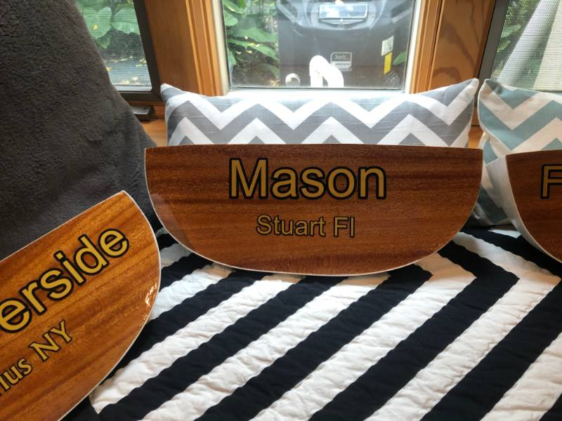 I made small boat transoms as presents for friends Lettering from Philip  S, FL