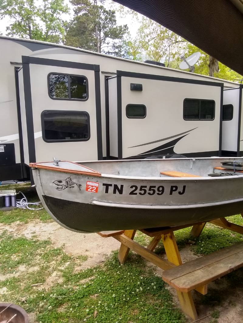 My little 12 foot aluminum boat.  Lettering from Joseph R, SC