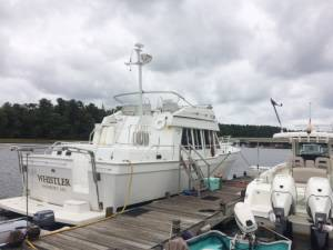 2001 Mainship 430 trawler boat Lettering from SAMUEL R B, MA