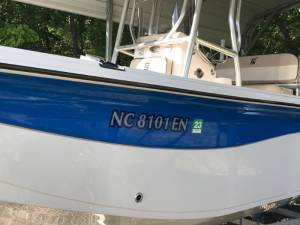 2020 Carolina Skiff Boat registration  Lettering from Jimmy  O, NC